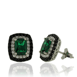 Sterling Silver Earrings With Emerald Gemstones With Zirconia