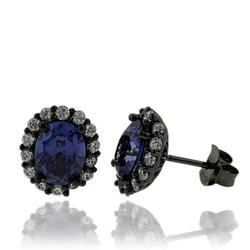 Black Silver & Tanzanite Earrings in Oval Cut with Zirconia