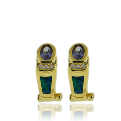 Gold Plated Earrings With Tanzanite and Australian Opal