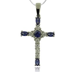 Beautiful Silver Cross With Tanzanite And Zirconia