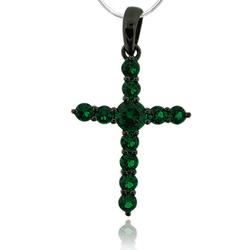Black Silver Cross With Emerald Gemstones