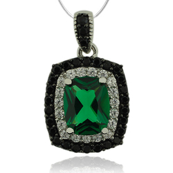 Sterling Silver Pendant With Emerald Gemstone and Zirconia.