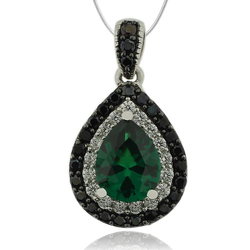 Sterling Silver Pendant With Emerald Gemstone in Drop Cut and Zirconia.