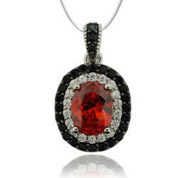 Sterling Silver Pendant With Fire Opal Gemstone in Oval Cut and Zirconia.