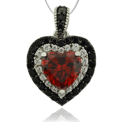 Precious Sterling Silver Pendant With Fire Opal Gemstone in Heart Shape and Zirconia.
