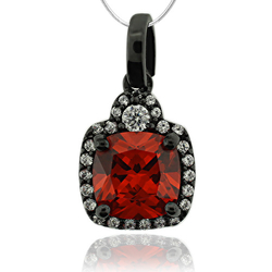 Black Silver Pendant With Fire Opal and Zirconia