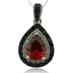 Sterling Silver Pendant With Fire Opal Gemstone in Drop Cut and Zirconia.