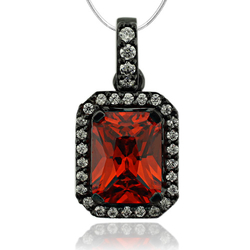 Black Silver Pendant With Fire Opal in Emerald Cut