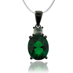 Black Silver Pendant With Oval Cut Emerald Gemstone