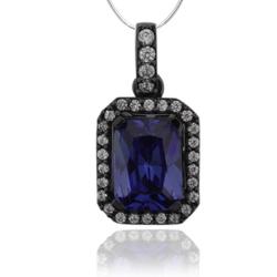 Black Silver Pendant With Emerald Cut Tanzanite and Zirconia