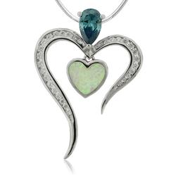 Silver Pendant with Heart Shape Australian Opal and Alexandrite.