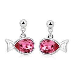 Hermosos Aretes de cristal Swarovski rosados en forma de pez.