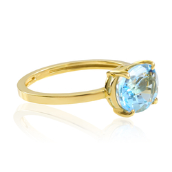 14K Gold Ring with Genuine Blue Oval Cut Topaz Gemstone