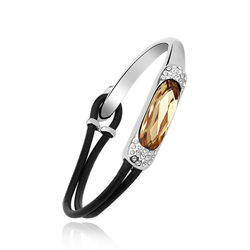 18K White Gold Plated Swarovski Amber Bracelet