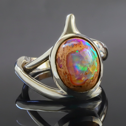 Authentic 6 Carat Mexican Matrix Opal Ring in .925 Silver