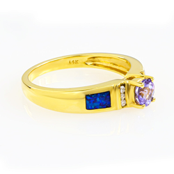 Authentic Tanzanite and Opal Ring in 14K Yellow Gold