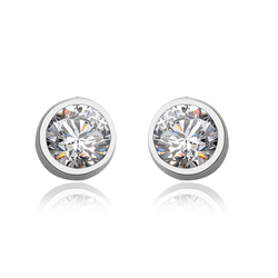 White Round-Cut Swarovski Stud Earrings
