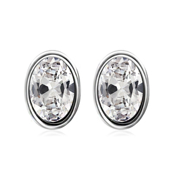 Beautiful Sterling Silver White Swarovski Stud Earrings