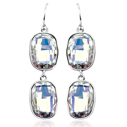 Emerald-Cut White Swarovski Crystal Earrings