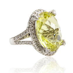 14K White Gold Ring with Oval Cut Natural Citrine