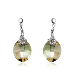 Sterling Silver Oval-Cut Swarovski Crystal Earrings