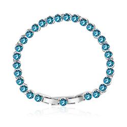 Blue Topaz Color Swarovski Crystals Bracelet