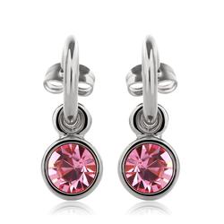 Pretty Pink Round Swarovski Crystal Earrings