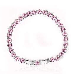Pink Color Swarovski Crystals Bracelet