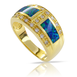 Australian Opal with Genuine Diamonds Ring in 14K Yellow Gold