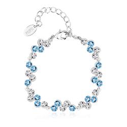 High Quality White and Blue Swarovski Crystal Bracelet