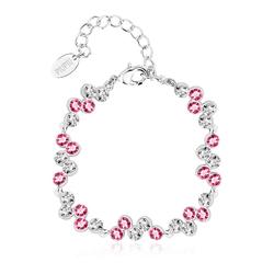 High Quality White and Pink Swarovski Crystal Bracelet