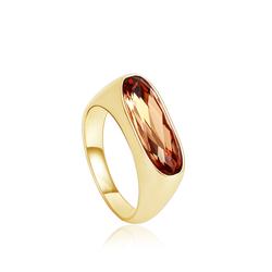 Amber Color Swarovski Cristal Ring with 18K Gold Plating