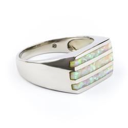 White Australian Opal Men's .925 Silver Ring
