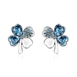 Beautiful Blue Earrings in Shape of Clover