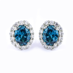 Sterling Silver Alexandrite Earrings in Oval Cut with Zirconia