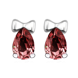 Red Swarovski Crystals Stud Bow Earrings