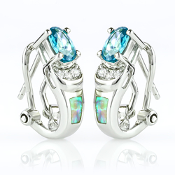 Oval Cut Alexandrite and White Opal .925 Silver Earrings