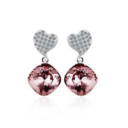 Swarovski Crystals Amethyst Color Sterling Silver Heart Earrings