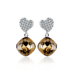 Swarovski Crystals Smokey Cuartz Color Sterling Silver Heart Earrings