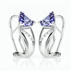 Trillion Cut Tanzanite Sterling Silver Earrings