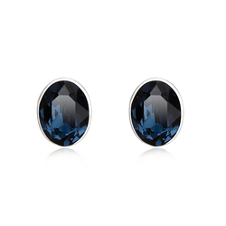 Night Blue Swarovski Crystal Silver Stud Earrings