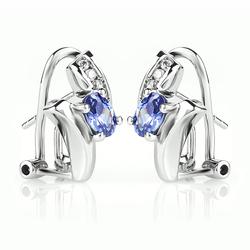 Oval Cut Tanzanite .925 Sterling Silver Earrings