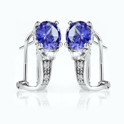 Tanzanite Silver Clip Earrings