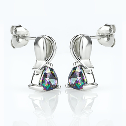 Trillion Cut Mystic Topaz Fashion .925 Sterling Silver Earrings