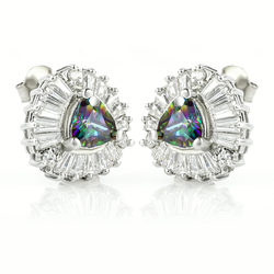 Very Elegant Trillion Cut Mystic Topaz .925 Sterling Silver Earrings