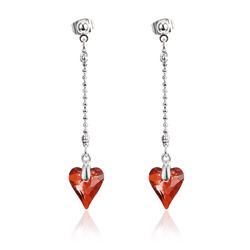 Long earrings with Swarovski heart