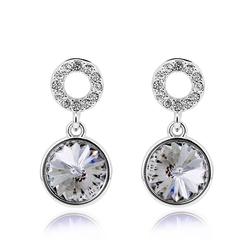White Swarovski Round Earrings