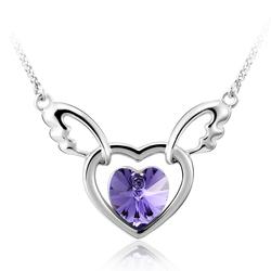 Gorgeous Purple Rhodium Plated Swarovski Crystal Heart Shaped Necklace