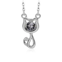 Pretty Swarovski Crystal Black Cat Necklace