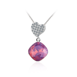 Swarovski Crystals Amethyst Opal Color Sterling Silver Heart Pendant